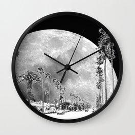 California Dream // Moon Black and White Palm Tree Fantasy Art Print Wall Clock