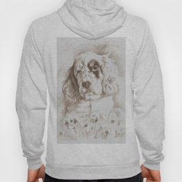 English Setter puppy Monochrome sgraffito Hoody