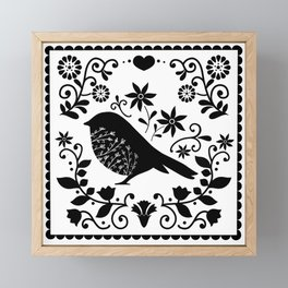 Woodland Folk Black And White Blue Bird Tile Framed Mini Art Print