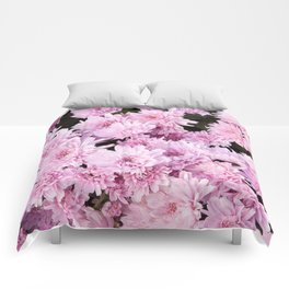 A Sea of Light Pink Chrysanthemums #1 #floral #art #Society6 Comforters