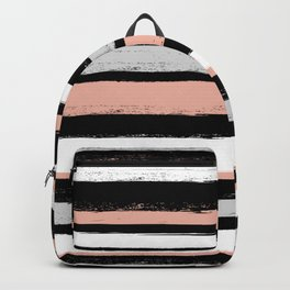 Stripes - Peach Grey Black White Backpack