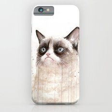 Grumpy Watercolor Cat Geek Meme Whimsical Animals iPhone 6 Slim Case