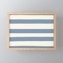 Dusk Sky Blue 27-23 Hand Drawn Fat Horizontal Lines on Dover White 33-6 Framed Mini Art Print