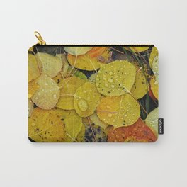 Water droplets on autumn aspen leaves Carry-All Pouch
