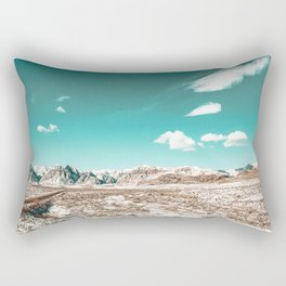 Vintage Desert Clouds // Teal Blue Skyline Mountain Range in the Mojave after a Snow Storm Rectangular Pillow