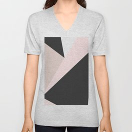 Geometrical pastel pink black white abstract triangles Unisex V-Neck
