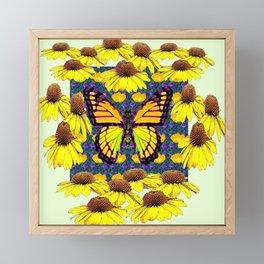 GOLDEN MONARCH BUTTERFLIES YELLOW FLORAL ABSTRACT Framed Mini Art Print