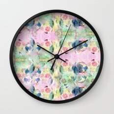 Ysmite Argate-crystal, floral, pastel, abstract Wall Clock