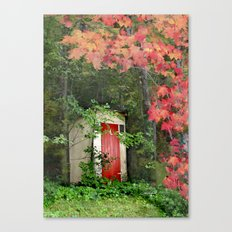 The Red Outhouse Door Canvas Print
