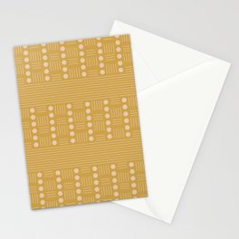 Lines and Circle in Mustard Stationery Cards