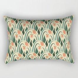 a lot of flowers for art deco green Rectangular Pillow