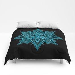Ancient Blue and Black Aztec Sun Mask Comforters