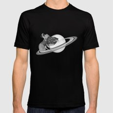 FLY ME TO THE SATURN Mens Fitted Tee MEDIUM Black