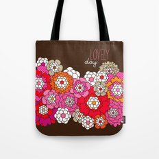 Lovely day - retro flowers illustration print Tote Bag