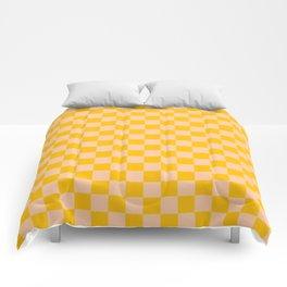 Deep Peach Orange and Amber Orange Checkerboard Comforters