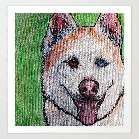 Red Siberian Husky Art Print