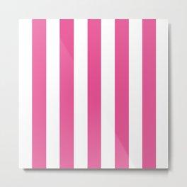 Barbie Pink (1959-1975) - solid color - white vertical lines pattern Metal Print