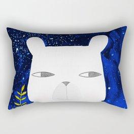 polar bear with botanical illustration in blue Rectangular Pillow