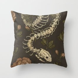 Snake Skeleton Throw Pillow