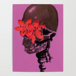 Skull with Flower Eyes Poster