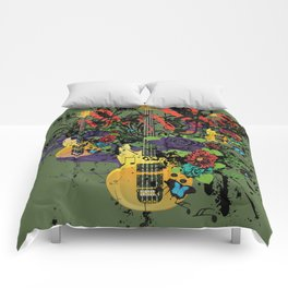 Grunge Guitar Illustration Comforters