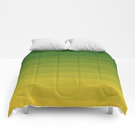 Shades of Grass - Line Gradient Pattern between Lime Green and Bright Yellow Comforters