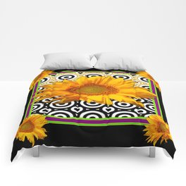 Deco Coffee & Cream Sunflowers Flowers  Black Art Comforters