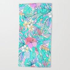 Pretty Pastel Hawaiian Hibiscus Print Beach Towel