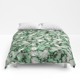 Spring Green & Rose Gold Marble Texture Comforters
