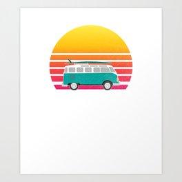 North Shore Hawaii Retro Sunset Surfing Hippie Van Art Travel Art Print