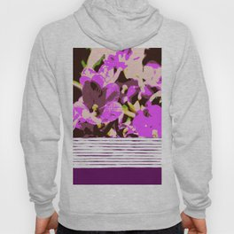 Lilac flowers and stripes, pattern mix Hoody
