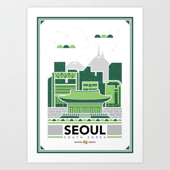 City Illustrations (Seoul, South Korea) Art Print