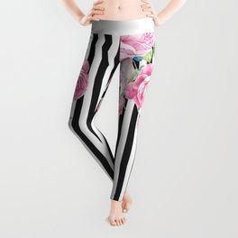Black white blush pink watercolor floral stripes Leggings
