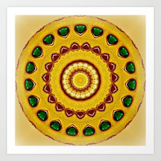 Golden Jewel with Emerald stones  Art Print