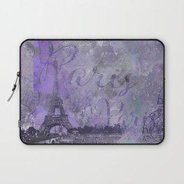 Purple Paris Watercolor Art Laptop Sleeve