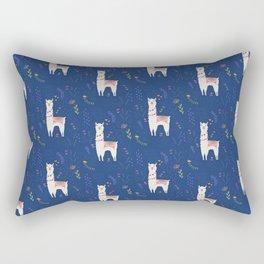 Llama on Blue Rectangular Pillow