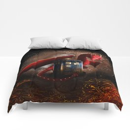 Red Dragon And Phone Box Comforters