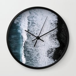 Aerial of a Black Sand Beach with Waves - Oceanscape Wall Clock