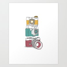 Stacked Cameras Art Print