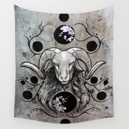 Silver Ram Wall Tapestry