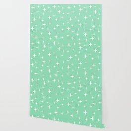 Mid Century Modern Star Pattern 443 Mint Green Wallpaper