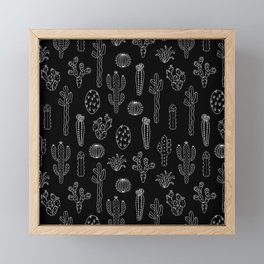 Cactus Silhouette White And Black Framed Mini Art Print
