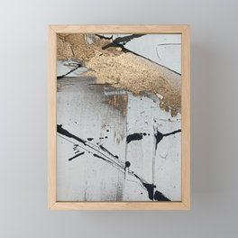 Still: an abstract mixed media piece in black, white, and gold by Alyssa Hamilton Art Framed Mini Art Print