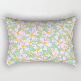 Pink Dogrose Flowers on Sky Blue Rectangular Pillow