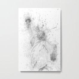 Modern Art STATUE OF LIBERTY | watercolor monochrome Metal Print