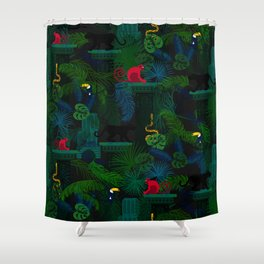 Animals in the jungle on the ruins Shower Curtain