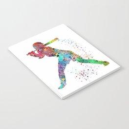 Baseball Softball Player Sports Art Print Watercolor Print Girl's softball Notebook