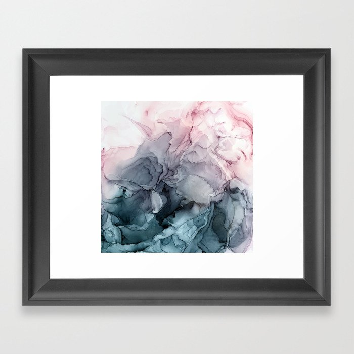 Blush and Payne's Grey Flowing Abstract Painting Framed Art Print