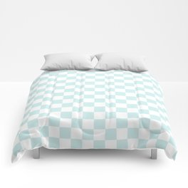 Small Checkered - White and Light Cyan Comforters