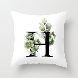 Letter 'H' Helleborus Flower Typography Throw Pillow